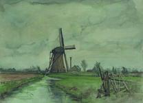 XVI-20-02-01 Gezicht op de Koedood met de Pendrechtse molen en het stoomgemaal in de polder Nieuw Pendrecht.