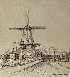 XVI-22 Gezicht op de molen De Lely aan de Kortekade bij de Plaszoom.
