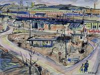 XVII-19-71 Gezicht op het Proveniersplein met de noorderingang van het centraal station, uit het noorden.