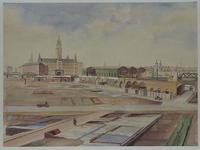 XVII-43-03 Gezicht op de achterzijde van het station Hofplein met de verwoeste omgeving, gezien uit het noorden. Op de ...