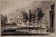 XVII-6 Gezicht op het station Delftse Poort uit het oosten, van de Coolsingel af.