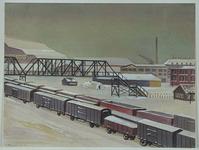 XVII-64-00-00-01 Voetbrug over de havenspoorweg bij de Vierhavensstraat, gezien uit het noordwesten.