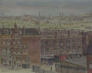 XVII-85-01-01 Oude tramremise aan de Schiekade en gezicht op achterzijde Haarlemmerstraat, gezien uit het noordoosten.