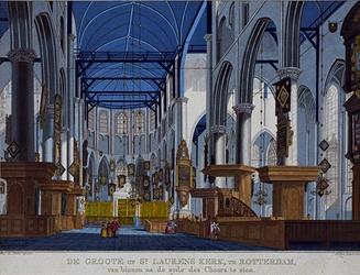 XVIII-115 Het interieur van de Grote Kerk.