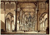 XVIII-116-1 Het interieur Grote of Sint-Laurenskerk. Op de achtergrond: het orgel.