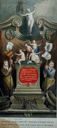 XVIII-136 Afbeelding van het schilderij van het Metselaarsgilde in de Grote Kerk aan het Grotekerkplein.