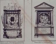 XVIII-154-EN-156 Praalgraven in de de Grote of Sint-Laurenskerk.Links ( XVIII 154 ): praalgraf van Witte Cornelis de ...