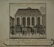 XVIII-171 Oosterkerk, uit het zuiden gezien (bomen binnen het hek zijn weggelaten).