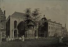 XVIII-172 Gezicht op de Oosterkerk in de Hoogstraat met belendende percelen uit het zuidwesten.
