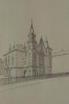 XVIII-182 Gezicht op de Noorderkerk in de Jocob Catsstraat, uit het zuiden.