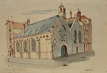 XVIII-189-01 Gezicht op de Sint Sebastiaans Kapel aan de 1e Lombardstraat, uit het westen.