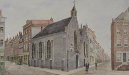 XVIII-190-01 Oude Schotse kerk aan de 1ste Lombardstraat, hoek de Meent.