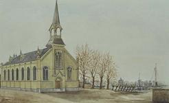 XVIII-197-01 Gezicht op de kleine kerk aan de Oranjeboomstraat, uit het zuidwesten.