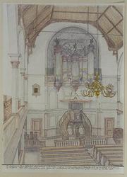 XVIII-205-02-01 Interieur Nieuwe Westerkerk aan de Ammanstraat, gezien naar preekstoel en orgel.