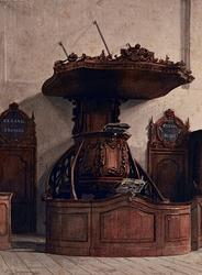 XVIII-230 De preekstoel in de Doopsgezinde Kerk in de Sint-Laurensstraat.