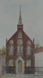 XVIII-232-01 Duitse kerk (Deutsche Evangelische Kirche ) gezien uit het oosten.