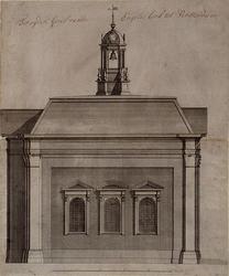 XVIII-234-01 Zijgevel van de Episcopaalse kerk aan het Haringvliet.
