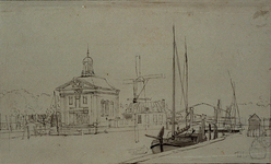 XVIII-237 De Episcopaalse kerk, Saint-Mary's Church, aan het Haringvliet. Rechts: molen de Roode Leeuw en de Nieuwe Oostbrug.