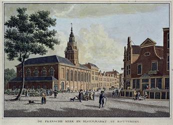 XVIII-253 De Waalsche kerk en de bloemenmarkt op de hoek Hoogstraat - Korte Hoogstraat.