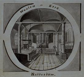 XVIII-254 Interieur van de Waalse Kerk, het orgel en de preekstoel, in medaillonvorm.