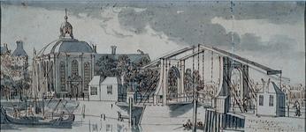 XVIII-283 Gezien vanaf de Noordblaak, de Lutherse Kerk en de Keizersbrug, 6 augustus 1759.