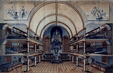 XVIII-298 Interieur van de Remonstrantse Kerk aan de Visschersdijk.