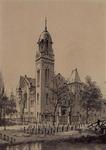 XVIII-313-01-2 Gezicht op de Remonstrantse kerk, uit het zuidoosten gezien vanaf de Westersingel.