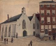 XVIII-316-01-1 Gezicht op de Meent met het Schotse kerkje in de Lombardstraat, gezien uit het westen.