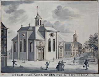 XVIII-319-01 De Schotse Kerk aan het Vasteland, uit het oosten