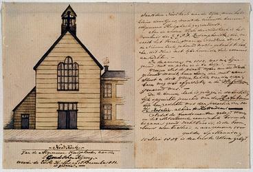 XVIII-344 Noodkerk aan de Goudse Rijweg, waarin de Eerste H. Mis op 18 December 1881 is gedaan. De kerk behoort tot de ...