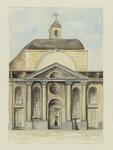 XVIII-349 Voorgevel van de St. Laurentiuskerk aan de Houttuin.