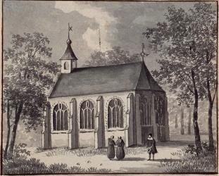 XVIII-386 Gezicht op de Sint Andrieskerk aan het Rodezand.