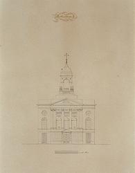 XVIII-387 Voorgevel van de Sint Dominicuskerk aan het Steiger.