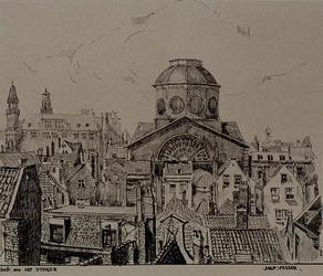 XVIII-392-01 Gezicht op de Sint Dominicus kerk aan het Steiger en omringende panden vanaf een hoog punt.