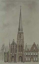 XVIII-394-01 Gezicht op de kerk en de pastorie van de kerk van O.L.Vr. Lourdes en de H.H. Martelaren van Gorcum aan het ...