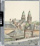 XVIII-4-05 De Koninginnekerk aan de Boezemsingel te zien over de daken langs de Boezemstraat, vanuit het noordwesten.