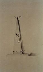 XVIII-420-00-02-01-1 De Vrijmetselaarsloge d'Eendragt aan de Delftsevaart; monument in de vorm van een piramide.
