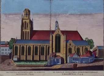 XVIII-44 Gezicht op de Grote Kerk aan het Grotekerkplein, uit het zuiden.