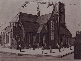 XVIII-46 Gezicht op de noord- en oostzijde van de Grote- of Sint-Laurenskerk vanaf de Binnenrotte.