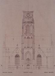 XVIII-58 Voorgevel en toren van de Grote Kerk.