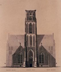 XVIII-59 Voorgevel en toren van de Grote Kerk.