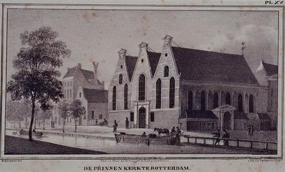 XVIII-6 Gezicht op de Prinsenkerk aan de Botersloot, uit het zuiden.
