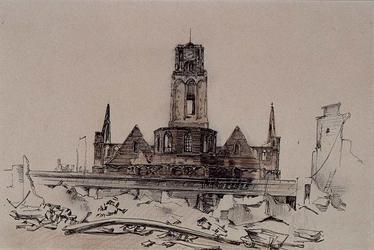 XVIII-82-05 Grote Kerk met op de voorgrond het viaduct na het bombardement.