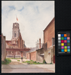 XVIII-82-18 Grote of St. Laurenskerk langs het pand van de Spaarbank aan de Botersloot, uit het oosten.