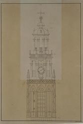 XVIII-86 De Grote Kerktoren.Afbeelding van het bovenstuk van de toren met aanduiding van de jaren van de bouw der ...