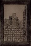 XVIII-99 Gezicht op de kerktoren van de Grote Kerk uit het zuidwesten, vanuit een dakvenster.