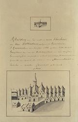 XX-1 Oudste weeshuis van Rotterdam aan de Hoogstraat volgens de kaart van Guicciardini anno 1566.