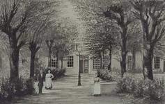XX-53-02 Rotterdamse Schie - Schiekade.De binnenplaats van het Proveniershuis aan de Schiekade met twee dames en een heer.