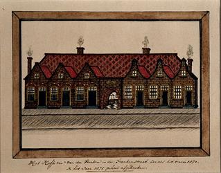 XX-79-1 De voorgevel van het hofje van Veecken aan de Lange Frankenstraat.