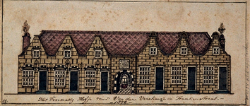 XX-79-3 De voorgevel van het hofje van Veecken aan de Lange Frankenstraat.